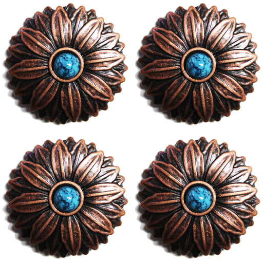 Set of 4 Conchos Western Saddle Tack Copper Flower Co528