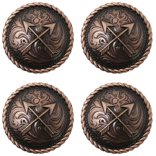 Set of 4 Conchos Western Saddle Tack Arrows Engraved Copper Co530