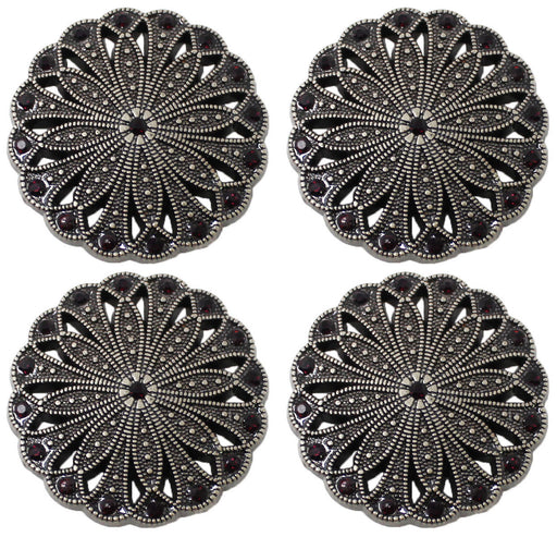 Set of 4 Conchos Western Saddle Tack Antique Silver Rhinestones Co538