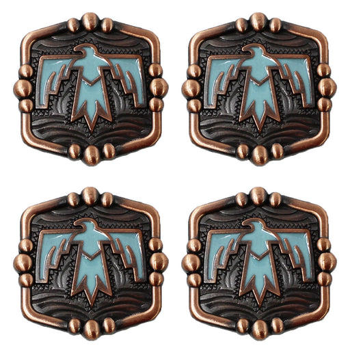 Set of 4 Conchos Western Saddle Tack Rodeo Bag Bird Overlay Co547