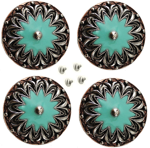 "Set of 4 Conchos Western Saddle Tack 1-1/4"" Copper Flower Engraved Turquoise Co555"
