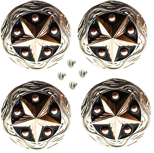 "Set of 4 Conchos Western Saddle Tack 1-1/4"" Engraved Copper Lone Star Co556"