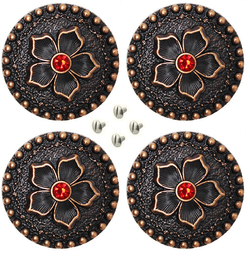 "Set of 4 Conchos Western Saddle Tack 1-1/4"" Engraved Copper Flower Co559"