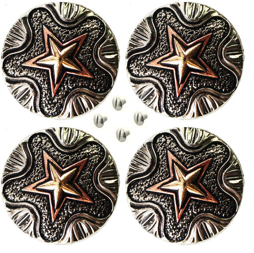 "Set of 4 Conchos Western Saddle Tack 1-1/4"" Engraved Copper Lone Star Co560"
