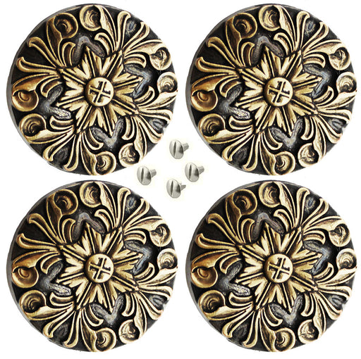 "Set of 4 Conchos Western Saddle Tack 1-1/4"" Brass Floral Engraved Co562"