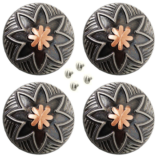 "Set of 4 Conchos Western Saddle Tack 1-1/4"" Engraved Copper Floral Co563"