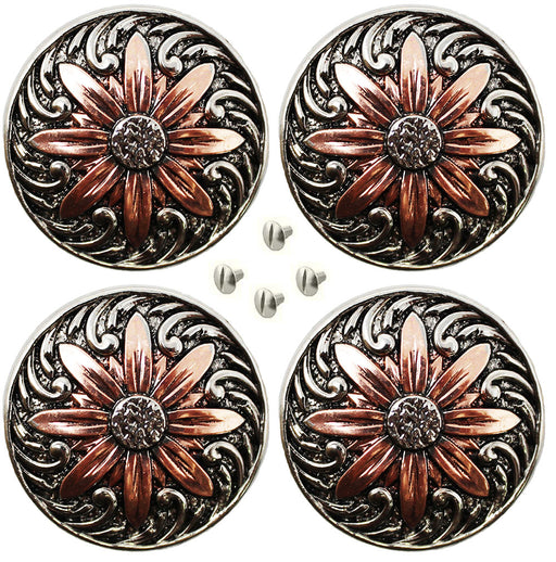 "Set of 4 Conchos Western Saddle Tack 1-1/4"" Engraved Copper Floral Co564"