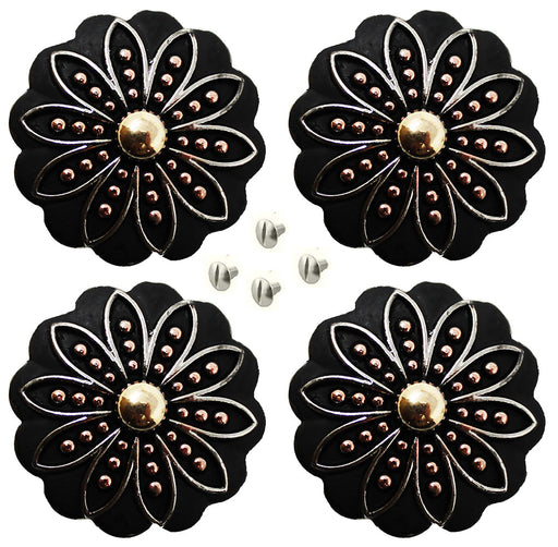 "Set of 4 Conchos Western Saddle Tack 1-1/4"" Horse Engraved Three-Tone Flower Co569"