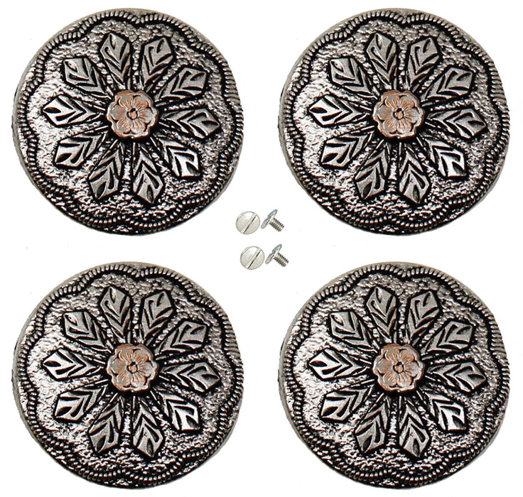 "Set of 4 Screw Back Conchos Western Saddle 1-1/4"" Two-Tone Floral Engraved Co588"