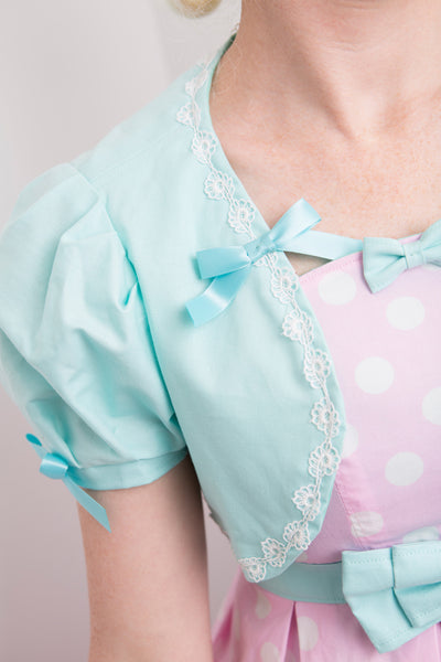 Miss Kittiness teal short sleeve bolero