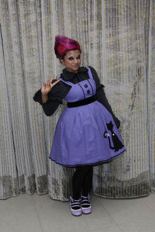 Miss Kittiness Purple and Black Jumperskirt
