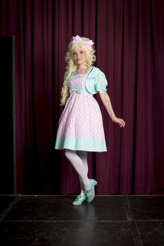 Miss Kittiness Pink Polka Dot and Teal Jumperskirt