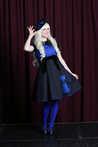 Miss Kittiness Black and Royal Blue Kitten Jumperskirt