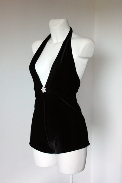 Miss Kittiness Black Velvet Jumpsuit