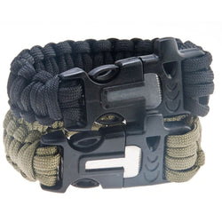 4-in-1 Flint Fire Starter Paracord Whistle Bracelet kit