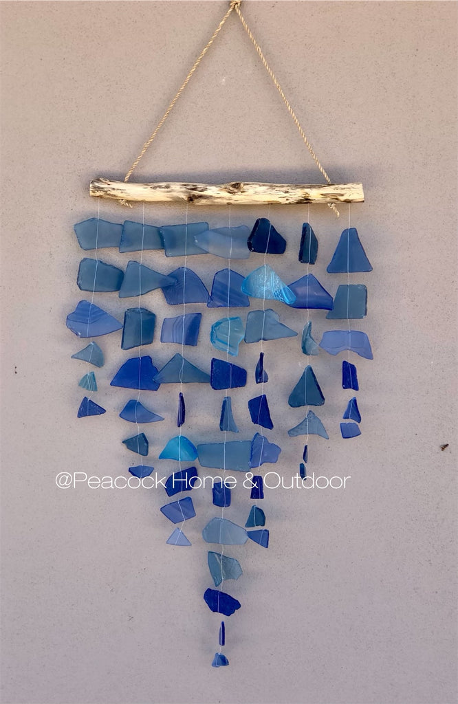 Glass Wind Chime - 7 strand - blue