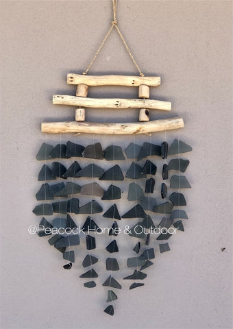 Glass Wind Chime - triple wood - black