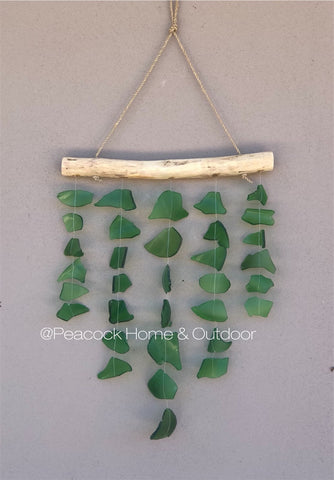 Glass Wind Chime - 5 strand - green