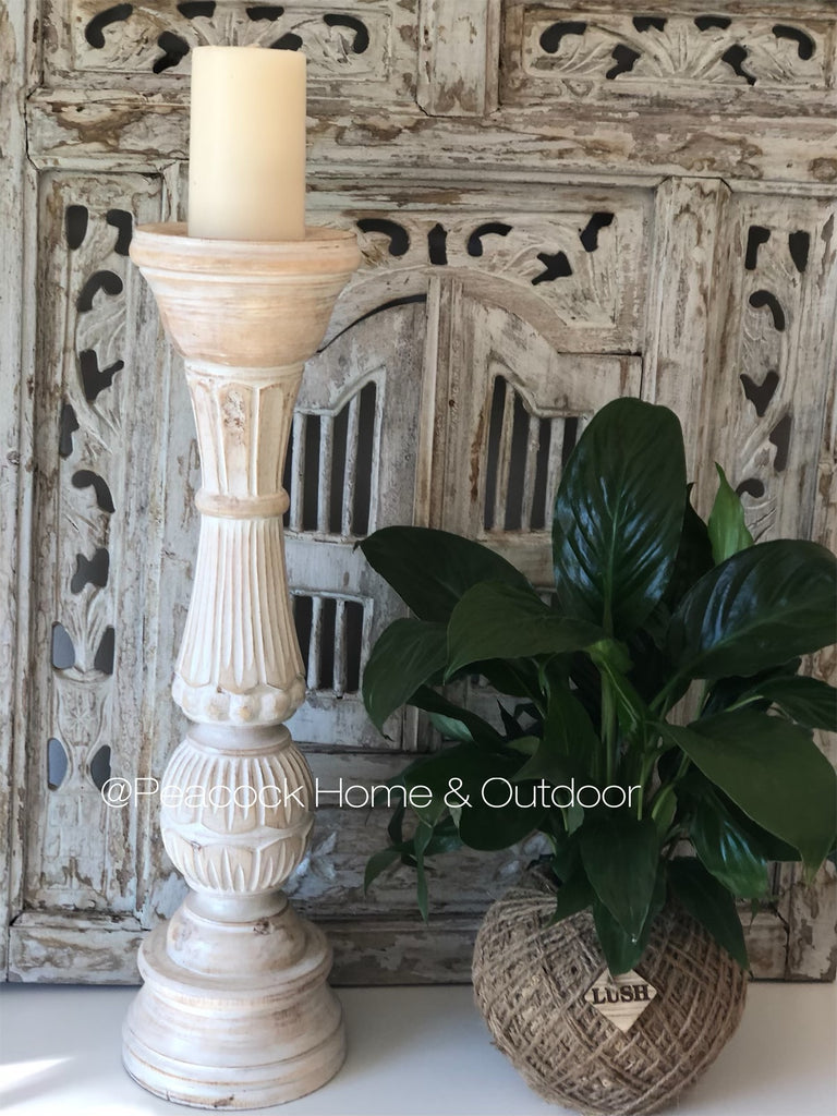 Candle Holder Carved - white  wash - large