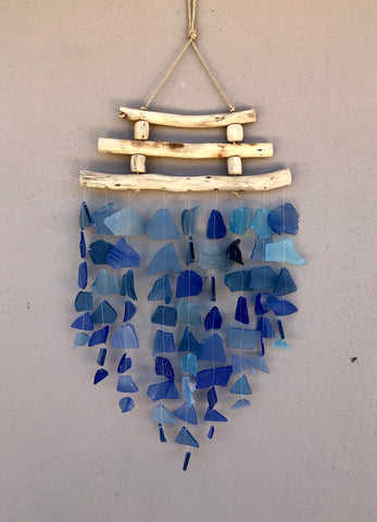 Glass Wind Chime - triple wood - blue