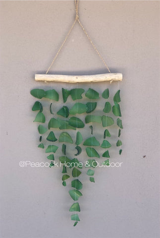 Glass Wind Chime - 7 strand - green