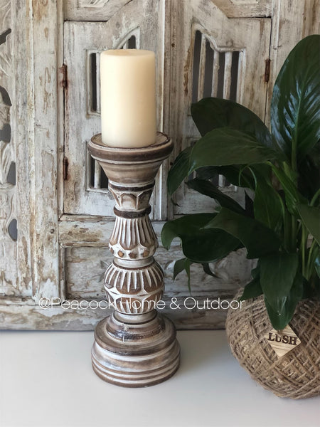 Candle Holder Carved - dark wash - small