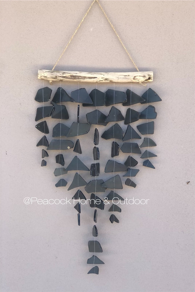 Glass Wind Chime - 7 strand - black