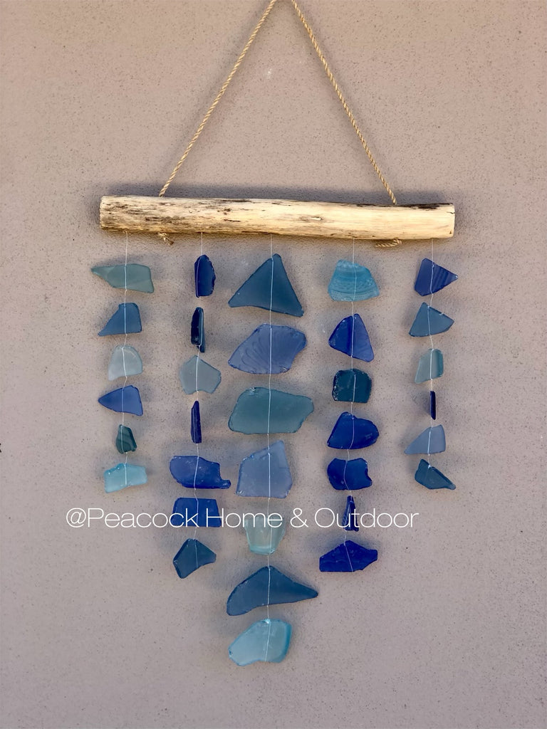 Glass Wind Chime - 5 strand - blue