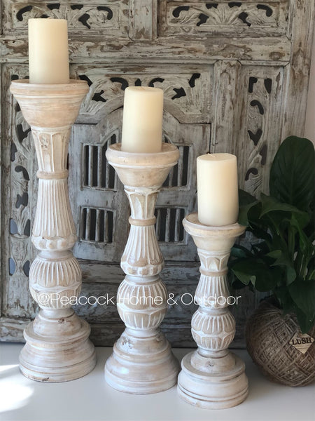 Candle Holder Carved - white wash - small