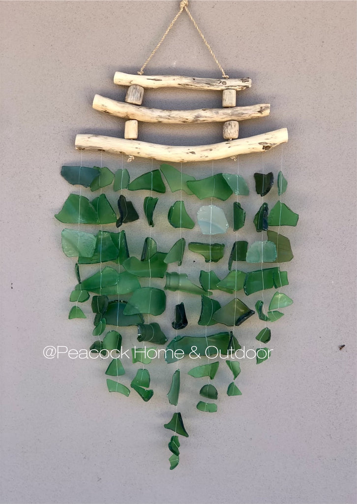 Glass Wind Chime - triple wood - green
