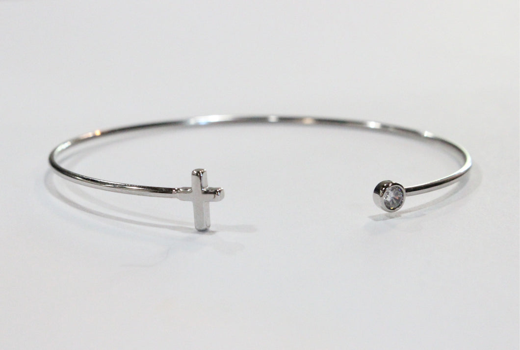 Cross and Rhinestone Bangle