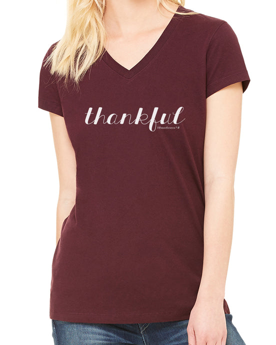 Thankful (Women's V-Neck Tee) in 6 colors