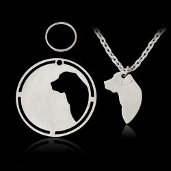 2 Piece Silhouette Labrador Retriever Dog tag Pendant Necklace