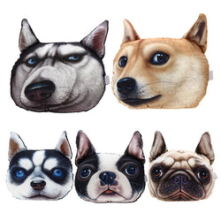 3D Dog Face Printed Car Headrest Pillow