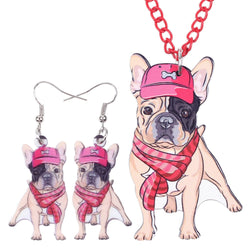 Bonsny Acrylic French Bulldog Necklace and Earrings