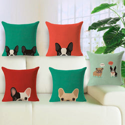 Woven Cotton Pillowcases Frenchies Pugs and Kitties