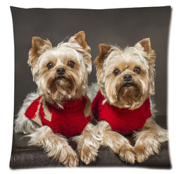 Yorkshire Terrier Red Cloth Pillow Cases