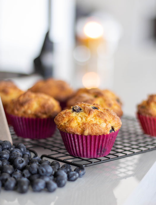 Banana Blueberry Protein Muffins