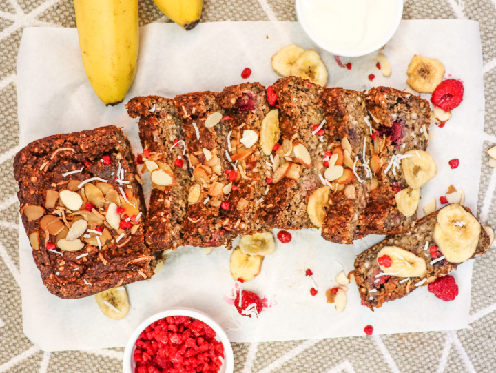 Raspberry and Salted Caramel Protein Banana Bread