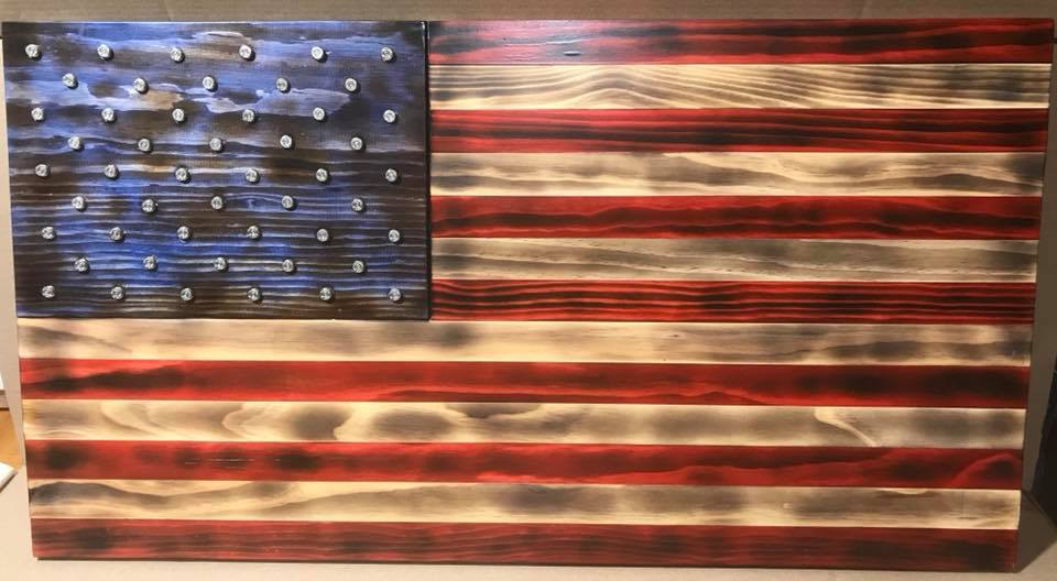 Standard American Flag Wood Art- Burnt Patina with 40 Cal Ammo Casings