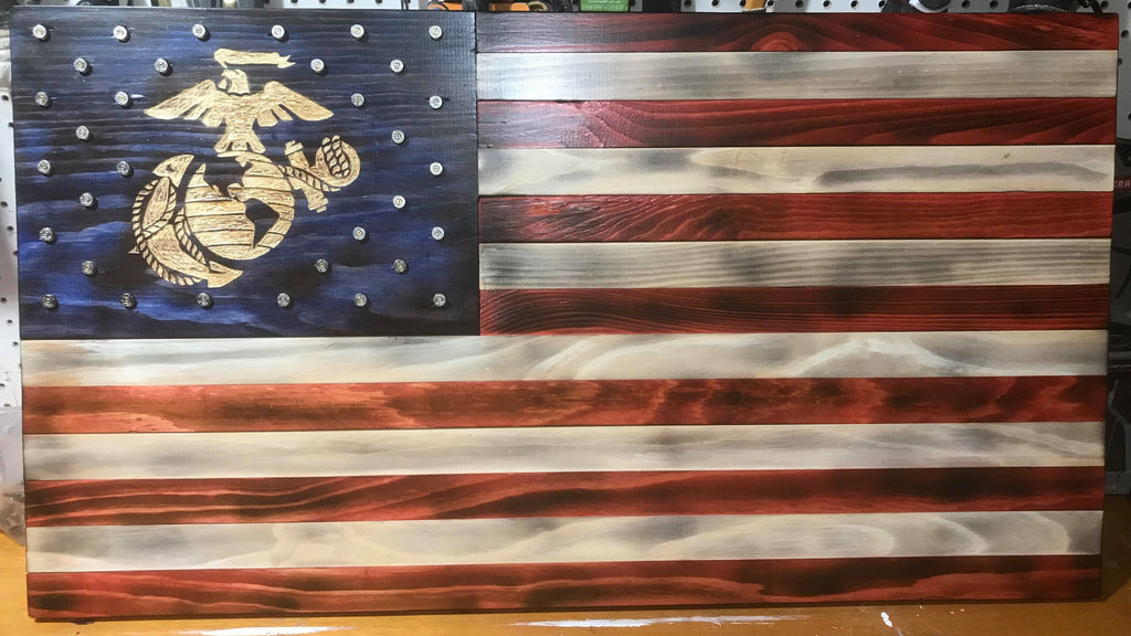 Premium American Flag Wood Art- Burnt Patina with the USMC Emblem and 40 Cal Casings
