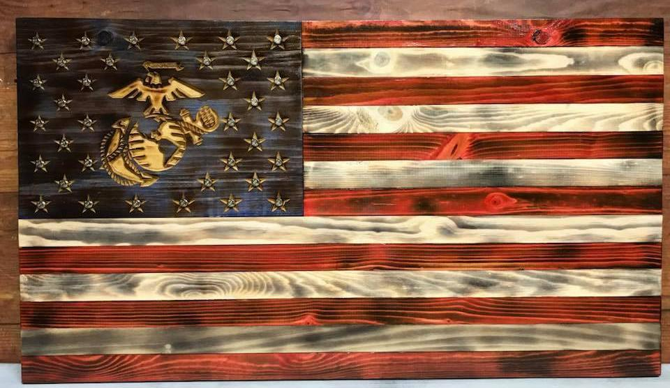 """The Patriot""- Military Specific American Flag Wood Art"