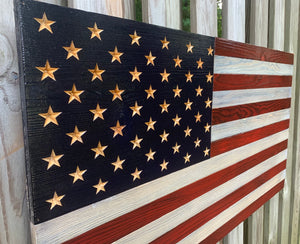 """Old Glory""- American Flag Wood Art with Carved Stars"