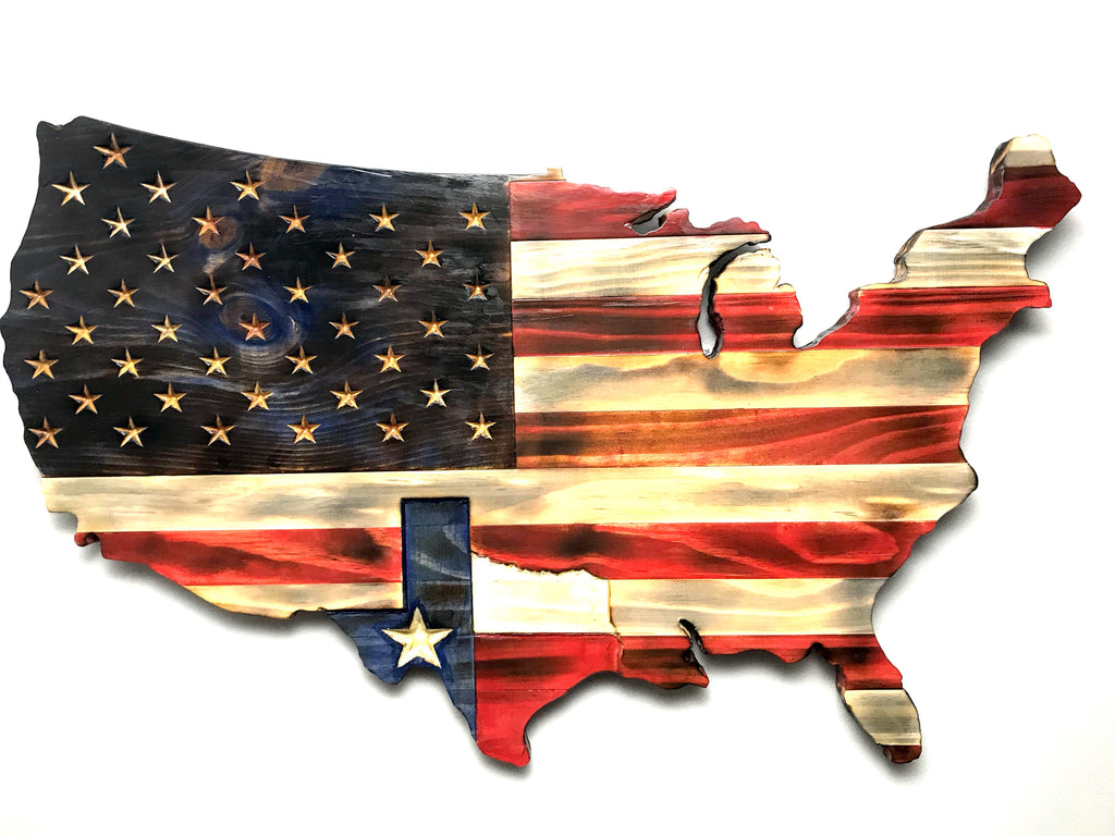 """The American"": American Flag Wood Art with an US Outline"