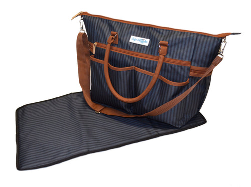 Safe Snuggler Tote Diaper Bag - Black and Gray Stripes Front View