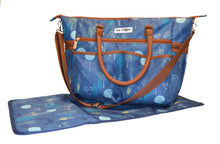 Safe Snuggler Tote Diaper Bag - Blue Dandelion Front View