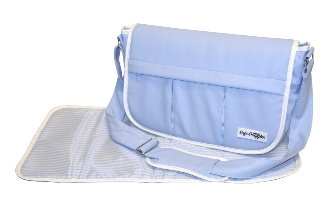 Safe Snuggler Messenger Diaper Bag - Blue Leather Front View