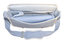 Safe Snuggler Messenger Diaper Bag - Blue Leather Inside