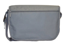 Safe Snuggler Messenger Diaper Bag - Gray Back View