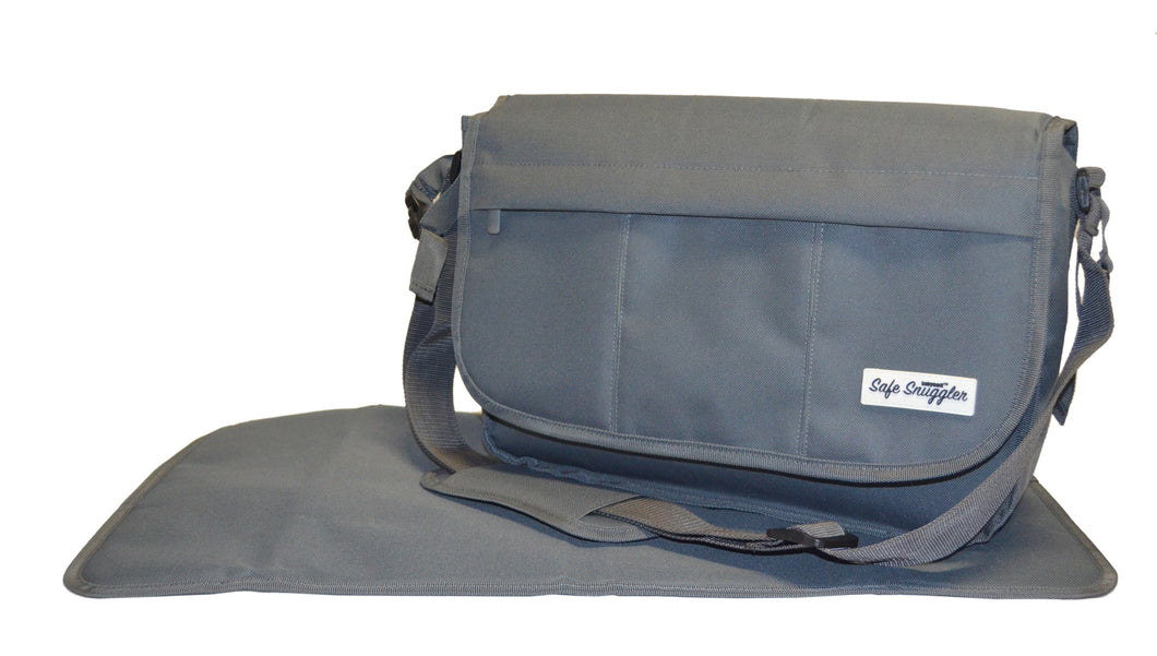 Safe Snuggler Messenger Diaper Bag - Gray Front View